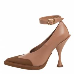 Burberry Brown/Beige Leather Toe Cap Detail Pointed Toe Pumps Size 38 407346