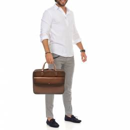 Montblanc Ombre Brown Leather Meisterstuck Flap Pocket Briefcase 407339