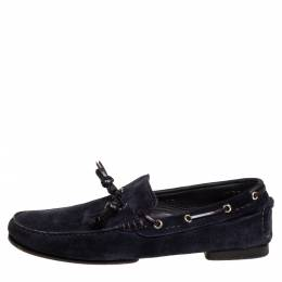 Tom Ford Navy Blue Suede Driving Loafers Size 42.5 406215