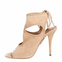 Aquazzura Beige Suede Sexy Thing Cutout Ankle Wrap Sandals Size 40 407067
