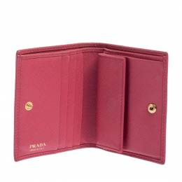 Prada Pink Saffiano Lux Leather Small Compact Wallet 405993