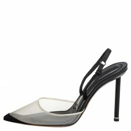 Alexander Wang Black/White Mesh And Suede Alix Slingback Sandals Size 37 404481