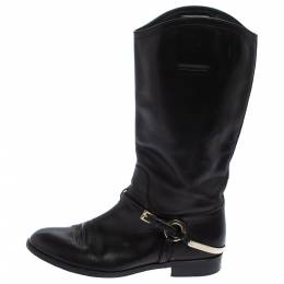 Dior Black Leather Buckle Detail Mid Calf Boots Size 37.5 407144