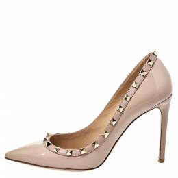 Valentino Beige Patent Leather Rockstud Pointed Toe Pumps Size 39.5 406547