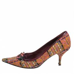 Miu Miu Multicolor Tweed Floral Embellished Pointed Toe Pumps Size 40 405978