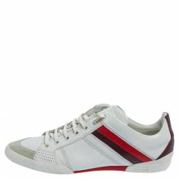 Dior White Leather And Suede Low Top Sneakers Size 41.5 408045