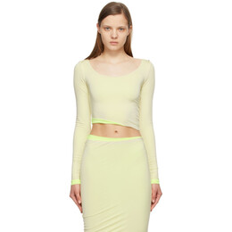 Sportmax Off-White and Yellow Cropped Venere Long Sleeve T-Shirt 29410311600 MM13137