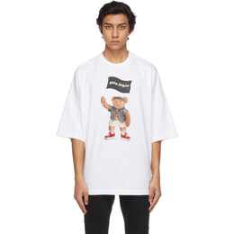 Palm Angels White Loose Pirate Bear T-Shirt PMAA041S21JER0060101