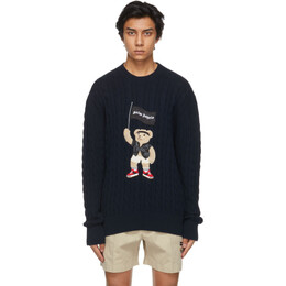 Palm Angels Navy Cable Knit Pirate Bear Sweater PMHE013S21KNI0014601