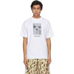 Palm Angels White Palm Trees Boulevard T-Shirt PMAA001S21JER0060110