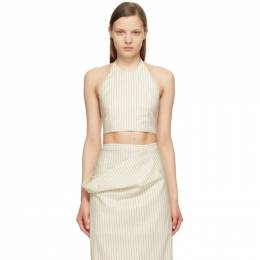 Sportmax Off-White Striped Cropped Judy Halter Top 21610718600 MM10540