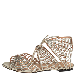 Charlotte Olympia Metallic Gold Leather Miss Muffet Flat Sandals Size 35 407150
