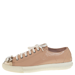 Miu Miu Beige Patent Leather Crystal Embellished Low Top Sneakers Size 39 408678