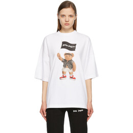 Palm Angels White Pirate Bear Loose T-Shirt PMAA041S21JER0060101