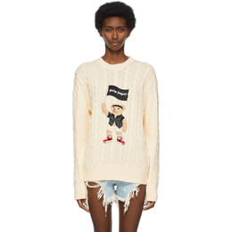Palm Angels Beige Cable Knit Pirate Bear Sweater PMHE013S21KNI0016101