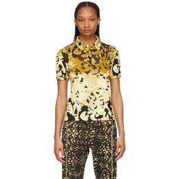 Eckhaus Latta Black and Gold Shrunk Polo 1004-EL-SS21