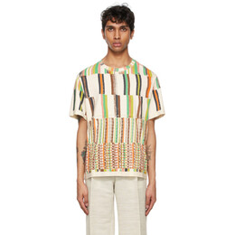 Eckhaus Latta Off-White Stripe Lapped T-Shirt 301-EL-SS21-SS