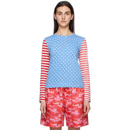 Blue and Red Polka Dot and Stripe Long Sleeve T-Shirt NG-T009-051 Comme des Garcons Girl