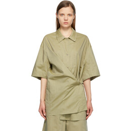 Lemaire Green Silk Twisted Maxi Shirt W 211 SH271 LF586