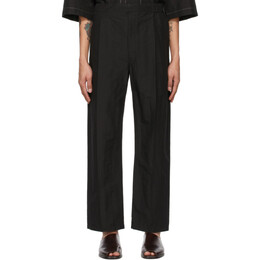 Lemaire Black Pleated Drawstring Trousers M 211 PA146 LF554