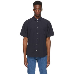 Norse Projects Navy Micro Texture Osvald Short Sleeve Shirt N40-0548