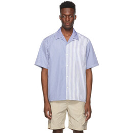 Norse Projects Blue and White Stripe Print Carsten Camp Shirt N40-0518