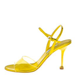 Prada Yellow Leather And PVC Ankle Strap Sandals Size 40 411222