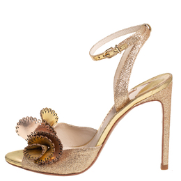 Sophia Webster Metallic Gold Leather and Shimmery Fabric Ankle Strap Sandals Size 39 410175
