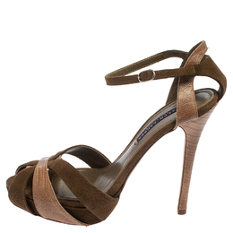Ralph Lauren Collection Green Suede And Lizard Leather Janessa Fall Ankle Strap Platform Sandals Size 39 410395
