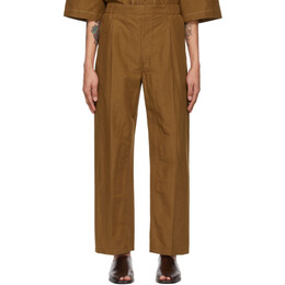 Lemaire Tan Drawstring Pleated Trousers M 211 PA146 LF554