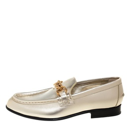 Burberry Metallic Gold Leather Solway Chain Detail Slip On Loafers Size 38.5 406557