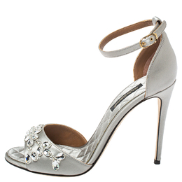 Dolce and Gabbana Grey Satin Ankle Strap Sandals Size 35 411832