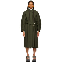 J.W. Anderson Green Slim Collar D-Ring Trench Coat CO0140-PG0012