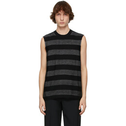 Comme Des Garcons Homme Plus Black and Silver Horizontal Striped Sleeveless Sweater PG-N005-051