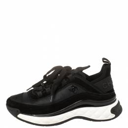 Chanel Black Suede And Nylon CC Low Top Sneaker Size 36 411981