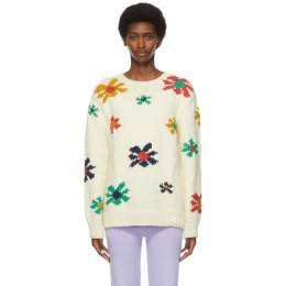 The Elder Statesman Off-White Organic Cotton Floral Sweater 210236