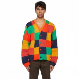 The Elder Statesman Red Colorblocked Squares Cardigan 210057