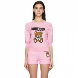 Moschino Pink Inside Out Teddy Bear Half Sleeve Sweater V0909 0400
