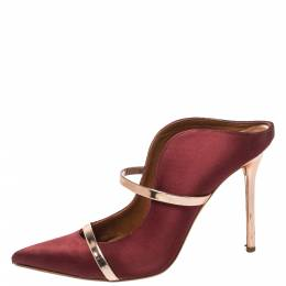 Malone Souliers Satin Burgundy Maureen Pointed Toe Mules Size 40.5 413098