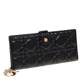 Dior Black Cannage Leather Lady Dior Long Bifold Wallet 414851