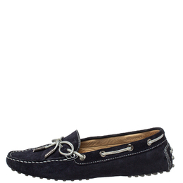 Tod's Navy Blue Suede Bow Slip On Loafers Size 37 413259
