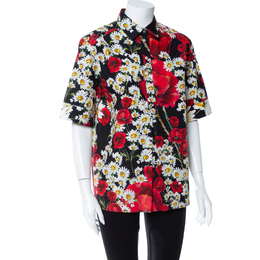 Dolce and Gabbana Black Poppy & Daisy Printed Cotton Half Button Short Sleeve Shirt M 413164