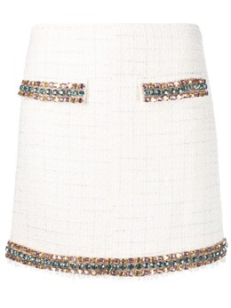 Blumarine gem-embellished tweed skirt 225027