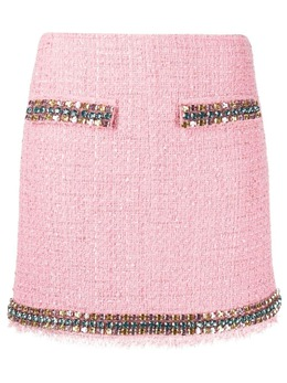 Blumarine gem-embellished tweed mini skirt 225027