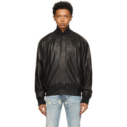 Fear Of God Black Leather Bomber Jacket FG30-030LTH