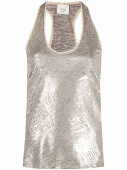 Alysi silk racer-back tank top 104428P1219