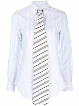 Thom Browne CLASSIC POINT COLLAR BUTTON DOWN W/BOW TIE COLLAR STAND W/COMBO IN VARIEGATED REP STRIPE OXFORD FLL102C07098