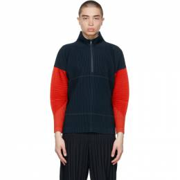 Homme Plisse Issey Miyake Navy and Red Block Sweater HP16JK162
