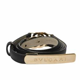 Bvlgari Black Leather Double Ring Buckle Slim Belt 90 CM 426451