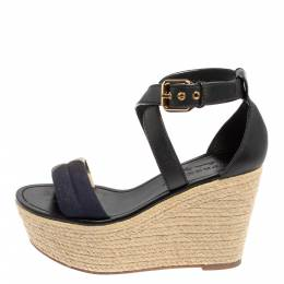 Burberry Black Leather And Nova Check Canvas Espadrille Wedge Sandals Size 37.5 428465